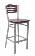 Grey Frame,3 Slats with Circle Metal Barstool w/ DM Back and Wood Seat
