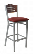 Grey Frame,3 Slats with Circle Metal Barstool w/ DM Back and Vinyl Seat