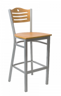 Grey Frame,3 Slats with Circle Metal Barstool w/ GD Back and Veneer Seat
