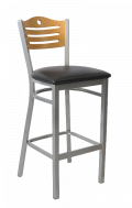 Grey Frame,3 Slats with Circle Metal Barstool w/ GD Back and Vinyl Seat