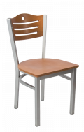 Grey Frame,3 Slats with Circle Metal Chair w/ Cherry Back and Veneer Seat