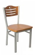 Grey Frame,3 Slats with Circle Metal Chair w/ Cherry Back and Wood Seat