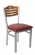 Grey Frame,3 Slats with Circle Metal Chair w/ Cherry Back and Vinyl Seat