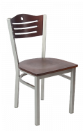 Grey Frame,3 Slats with Circle Metal Chair w/ DM Back and Veneer Seat