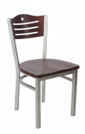 Grey Frame,3 Slats with Circle Metal Chair w/ DM Back and Wood Seat