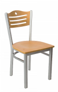 Grey Frame,3 Slats with Circle Metal Chair w/ GD Back and Veneer Seat