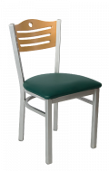 Grey Frame,3 Slats with Circle Metal Chair w/ GD Back and Vinyl Seat
