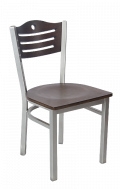 Grey Frame,3 Slats with Circle Metal Chair w/ Walnut Back and Veneer Seat