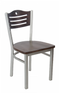 Grey Frame,3 Slats with Circle Metal Chair w/ Walnut Back and Wood Seat