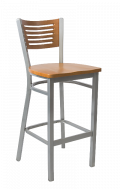 Grey Frame,5 Slats Metal Barstool w/ Cherry Back and Wood Seat