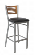 Grey Frame,5 Slats Metal Barstool w/ Cherry Back and Vinyl Seat