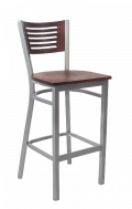 Grey Frame,5 Slats Metal Barstool w/ DM Back and Veneer Seat