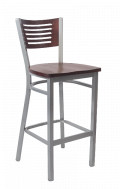 Grey Frame,5 Slats Metal Barstool w/ DM Back and Wood Seat