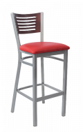 Grey Frame,5 Slats Metal Barstool w/ DM Back and Vinyl Seat