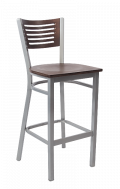 Grey Frame,5 Slats Metal Barstool w/ Walnut Back and Veneer Seat