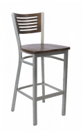 Grey Frame,5 Slats Metal Barstool w/ Walnut Back and Wood Seat