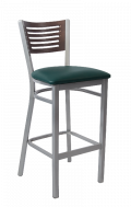 Grey Frame,5 Slats Metal Barstool w/ Walnut Back and Vinyl Seat