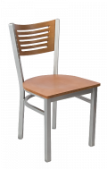 Grey Frame,5 Slats Metal Chair w/ Cherry Back and Veneer Seat