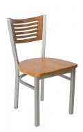 Grey Frame,5 Slats Metal Chair w/ Cherry Back and Wood Seat