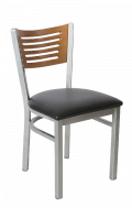 Grey Frame,5 Slats Metal Chair w/ Cherry Back and Vinyl Seat