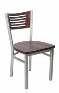 Grey Frame,5 Slats Metal Chair w/ DM Back and Wood Seat