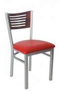 Grey Frame,5 Slats Metal Chair w/ DM Back and Vinyl Seat