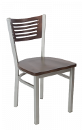 Grey Frame,5 Slats Metal Chair w/ Walnut Back and Wood Seat