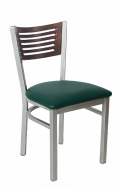 Grey Frame,5 Slats Metal Chair w/ Walnut Back and Vinyl Seat