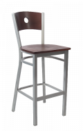Grey Frame, Circle Back Metal Barstool w/ DM Back and Veneer Seat