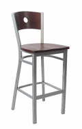 Grey Frame, Circle Back Metal Barstool w/ DM Back and Wood Seat