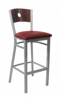 Grey Frame, Circle Back Metal Barstool w/ DM Back and Vinyl Seat