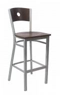 Grey Frame, Circle Back Metal Barstool w/ Walnut Back and Veneer Seat