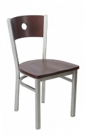 Grey Frame, Circle Back Metal Chair w/ DM Back and Wood Seat