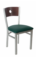 Grey Frame, Circle Back Metal Chair w/ DM Back and Vinyl Seat