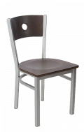 Grey Frame, Circle Back Metal Chair w/ Walnut Back and Veneer Seat