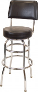 Swivel Chrome Vinyl Barstool with Back