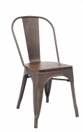Taupe Grey(GunMetal) Finish Tolix Metal Chair W./ Wood Seat