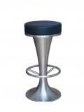Aluminum Backless Barstools w/. Black Vinyl Seat