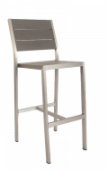 Aluminum Barstool with imitation teak slats in Grey Finish