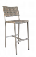 Aluminum Barstool with Imitation Rattan Back & Seat