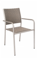Aluminum Armchair with Imitation Rattan Back & Seat