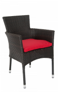 Staining Synthetic Wicker Outdoor Chair, Red Cushion