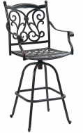 Outdoor Swivel Aluminum Barstool w/. Antique Bronze Finish