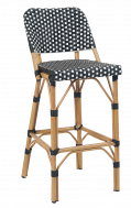 Outdoor Poly Woven Aluminum Barstool, Natural&White