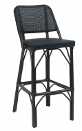Outdoor Poly Woven Aluminum Barstool, Black