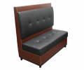 Tufted Back Melamine Single Booth,w/. Black Vinyl Seat & Back