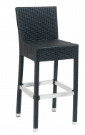 Black Synthetic Wicker Aluminum Barstools
