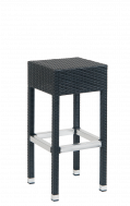Black Synthetic Wicker Aluminum Backless Barstool