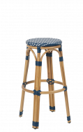 Outdoor Synthetic Wicker Aluminum Backless Barstool, Blue/White