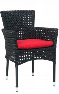 Black Synthetic Wicker Aluminum Chair w/. red cushion